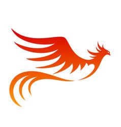 symbol a fiery flying bird vector image