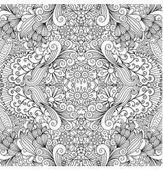 Symmetric outline ornamental floral pattern vector
