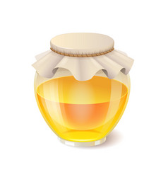 tasty honey in glass jar realistic honey icon vector image