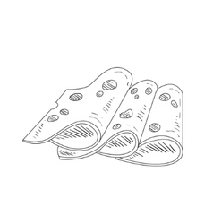 Three Slices Of Cheese With Holes Hand Drawn vector