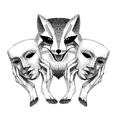 Trickster sly fox smiles fox with two masks vector
