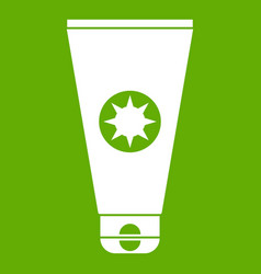 tube with sunbathing cream icon green vector image