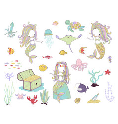 underwater life mermaids and sea animals vector image
