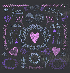 vintage set hand drawn romantic design vector image