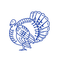 Wild turkey side paper cut vector