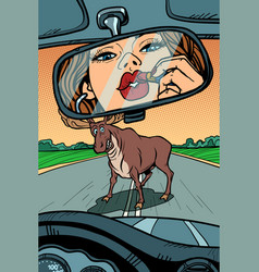 woman driver looks in mirror wild animals on vector image