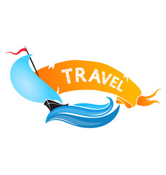 yacht on the wave for travel vector image