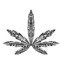 Zentangle stylized marijuana leaf Sketch for vector