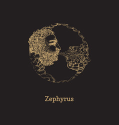 zephyrus west wind hand drawn in engraving style vector image