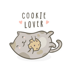 cute kitty with cookie vector image