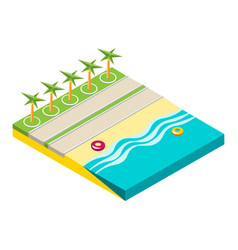 isometric beach objects isolated on white vector image