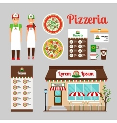 Pizza Cafe front design icons set vector image
