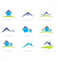 real estate logo and icons vector image vector image