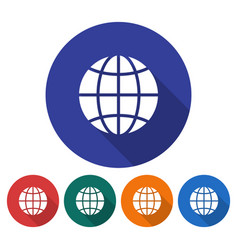 round icon of globe flat style with long shadow vector image
