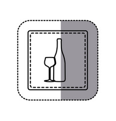 contour emblem wine bottle with glass icon vector image vector image