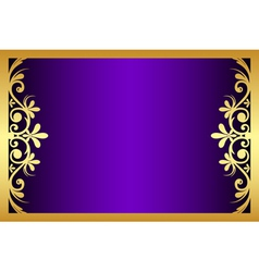 floral purple and gold frame vector image vector image