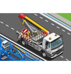 Isometric Platform Lift Truck in Front View vector image vector image