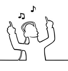 Listening to music through headphones vector image vector image
