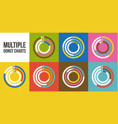 multiple doughnut chart for using in info graphic vector image