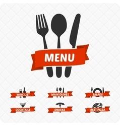 Set of restaurant signs symbols logo vector image vector image