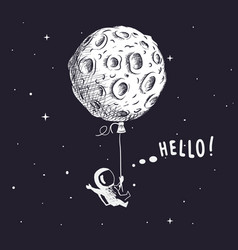 spaceman with moon like a balloon vector image vector image