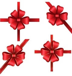 Sset of red gift bows with ribbons vector image vector image