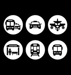 transport set on round icons vector image vector image