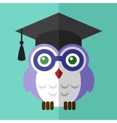 Graduation owl student icon flat sign symbol logo vector image
