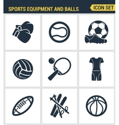 Icons set premium quality of sports equipment and vector image