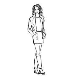 woman in jacket dress and boots vector image vector image