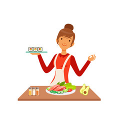 young cheerful woman making sushi rolls housewife vector image