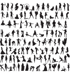 a variety of interesting silhouettes of women vector image