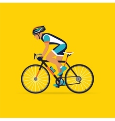 cyclist male on a yellow background vector image vector image