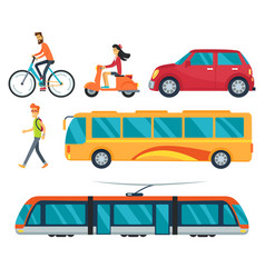 different types of transport vector image vector image