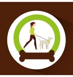 Girl walking a white dog vector