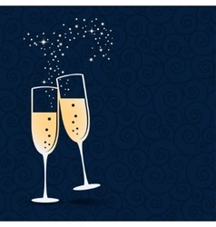 Glasses of champagne isolated on dark blue vector image