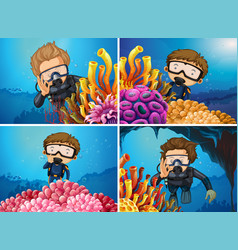 scenes with divers in the sea vector image