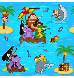 seamless pattern with animals pirates vector image vector image