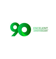 90 years excellent anniversary celebration green vector