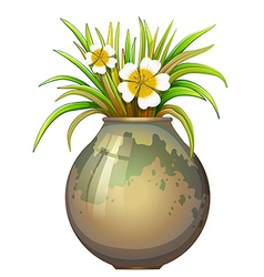 A big pot container with a flowering plant vector