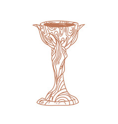 Ancient magic witch goblet old holy cup hand vector