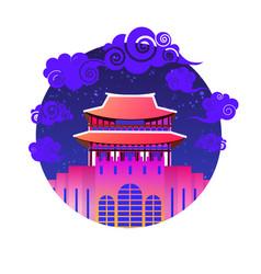 Asian temple icon south korea landmark traditional vector
