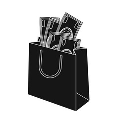 Bag with money e-commerce single icon in black vector