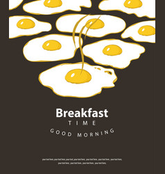Banner for breakfast time with fried eggs vector