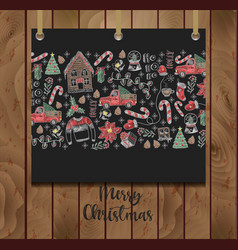 banner merry christmas with elements vector image