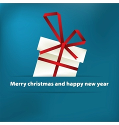 Blue christmas card with gift EPS8 vector image
