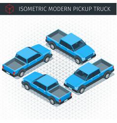 blue pickup car vector image