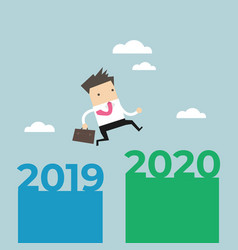 businessman jump from 2019 to 2020 vector image