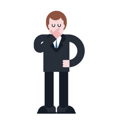 businessman thinks isolated pensive boss in suit vector image