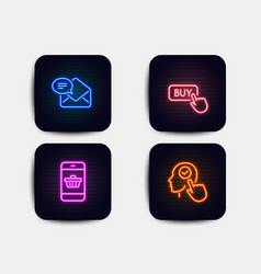 buy button new mail and smartphone buying icons vector image
